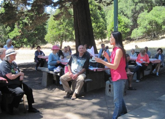 Margie Yee joined the Open Mic readers at the annual summer California Writers Club barbecue at Joaquin Miller Park in Oakland. Larry Goodman  ran the grill again this year, dispensing hamburgers and hotdogs.